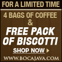 The Coffee Duet comes with 4 bags of coffee and a 10 pack of biscotti + Free Shipping for only $15.95.  Only at BocaJava.com